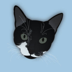 Cat Head (Black-White Shorthair) - Heavy Cotton ™ 100% Cotton T Shirt Design